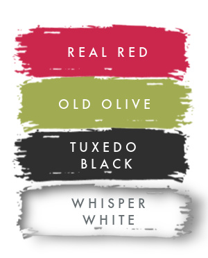 STAMPIN UP COLOR PALLETTE Real Red  Old Olive  Whisper White and Basic Black