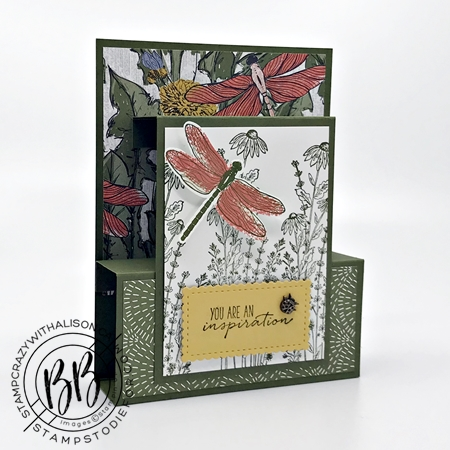 Fun fold card created with Dragon Fly Garden Stamp Set by Stampin Up larger print paper