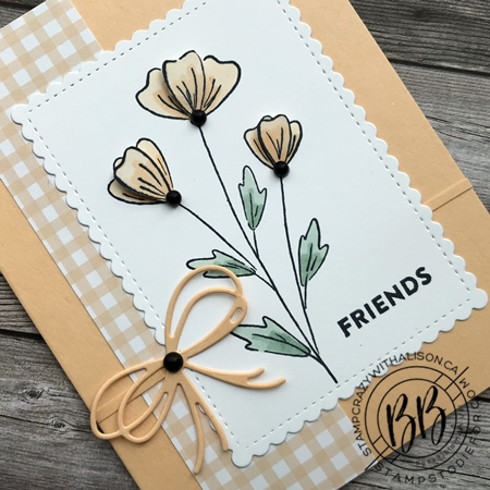 Sunday Sketch Card using the Flowers of Friendship stamp set Pansy Petal Designer Paper and the Pierced Blooms and Stitched So Sweetly Dies by Stampin' Up! (2)