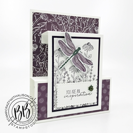Fun fold card created with Dragon Fly Garden Stamp Set by Stampin Up Misty Blackberry bliss