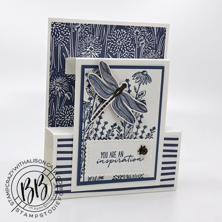 Fun fold card created with Dragon Fly Garden Stamp Set by Stampin Up Misty Moonlight Monochromatic