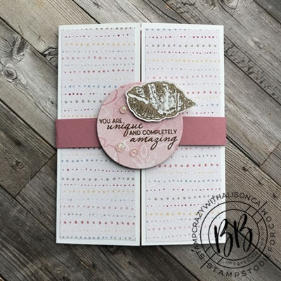 Fun Fold suprise card using Sand and Sea Suite by Stampin Upwm