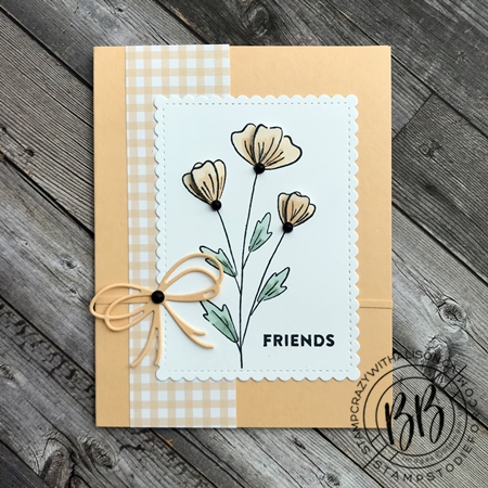Sunday Sketch Card using the Flowers of Friendship stamp set Pansy Petal Designer Paper and the Pierced Blooms and Stitched So Sweetly Dies by Stampin' Up!